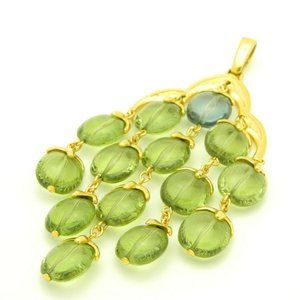 Crown Trifari Green Blue Waterfall Necklace Pendan